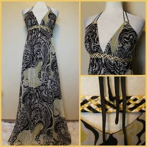 NICOLE MILLER Brown, Yellow, White Maxi Gown